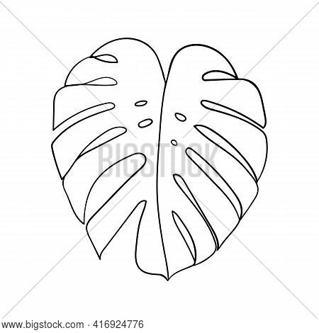 Monstera Leaf Line Art. Minimalism Art. Contour Drawing. - Vector Illustration