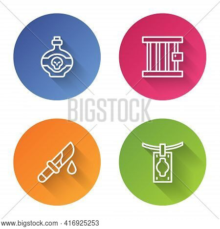 Set Line Poison In Bottle, Prison Window, Bloody Knife And Money Laundering. Color Circle Button. Ve