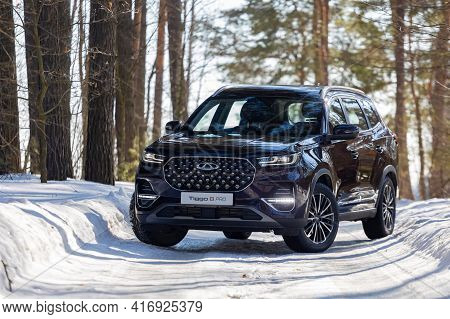 Moscow, Russia - March 18, 2021: The New Seven-seat Minivan Chery Tiggo 8 Plus.  New Flagship Chines