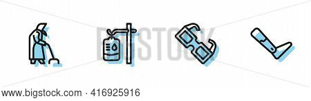Set Line Eyeglasses, Grandmother, Iv Bag And Prosthesis Leg Icon. Vector