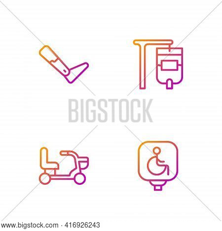 Set Line Disabled Wheelchair, Electric, Prosthesis Leg And Iv Bag. Gradient Color Icons. Vector