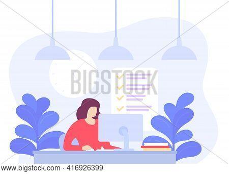 Girl Working In Office, Deadline, Task Completion