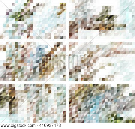 A Set Of Discreet Harmonious Mosaic Backgrounds For Decoration, Banners, Brochures And Other Printed