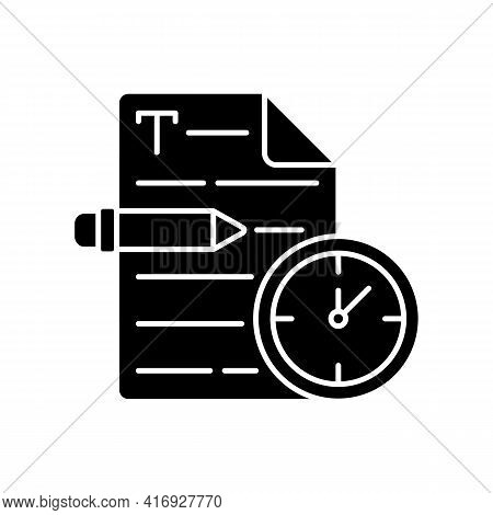 Urgent Copywriting Black Glyph Icon. Fast Copywriting Services. Time Management On Project. Seo Edit