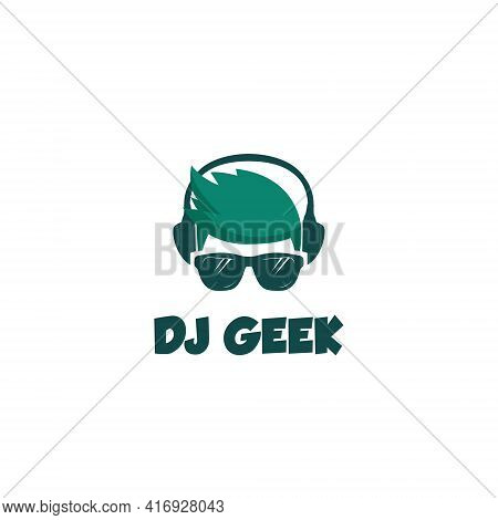 Dj Geek Logo Symbol Design Template Flat Style Vector