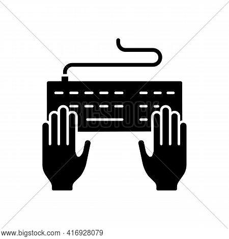 Keyboard Black Glyph Icon. Professional Freelance Worker. Copywriter Work. Enter Information With Ke