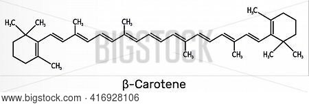 Beta Carotene, Provitamin A, Is An Organic Red-orange Pigment In Plants And Fruits. Skeletal Chemica