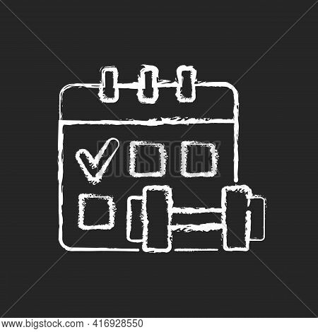 Regular Exercise Chalk White Icon On Black Background. Calendar To Track Gym Attendance. Routine For