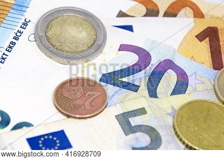 European Union Coins And Banknotes Of Different Values. The Euro Is The European Currency. Finance,