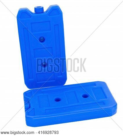 Blue Plastic Freezer Element With Gel For Keeping Food Cool In Cool Bag Isolated On The White Backgr