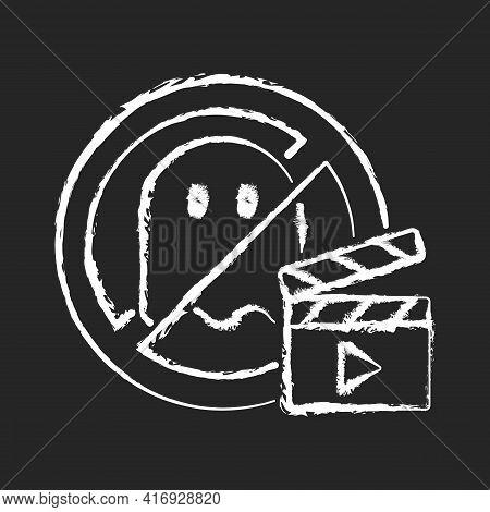 No Horror Movies Chalk White Icon On Black Background. Restriction For Cinematography And Entertainm