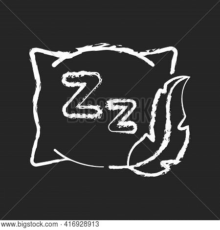Comfortable And Fresh Pillow Chalk White Icon On Black Background. Orthopedic Cushion For Bedtime. F