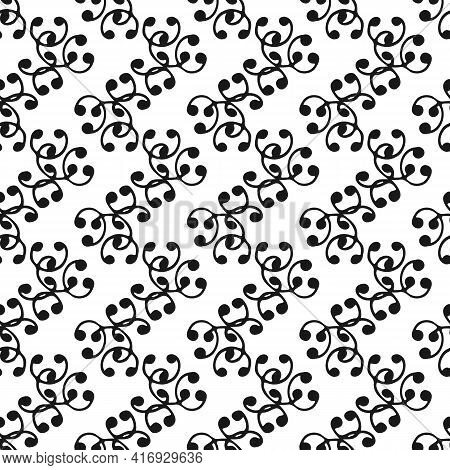 Vector Seamless Pattern With Abstract Arc Shapes On White Background For Textile, Tile, Clothes, Not