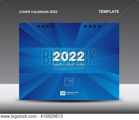 Cover Desk Calendar 2022 template, Cover Design, flyer, ads, booklet, catalog, newsletter, book cover, Blue polygonal background concept, Booklet, advertisement, printing, Business template, Vector