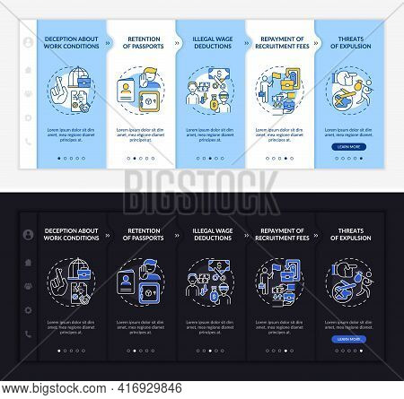 Migrant Workers Rights Violations Onboarding Vector Template. Responsive Mobile Website With Icons.