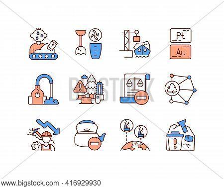 Waste Management Rgb Color Icons Set. Manufacturing Job. Broken Household Equipment. Ocean Dump. Pre