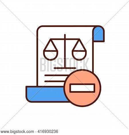 Law Violation Rgb Color Icon. Criminal Offense. Infringement Procedure. Legislation, Counteraction.