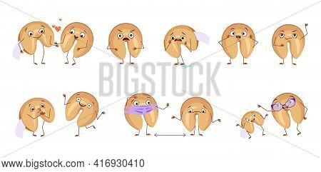 Cute Characters Chinese Fortune Cookies With Emotions, Faces, Hands And Feet. Happy Or Sad Character