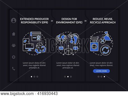 E-trash Reducing Initiatives Onboarding Vector Template. Responsive Mobile Website With Icons. Web P
