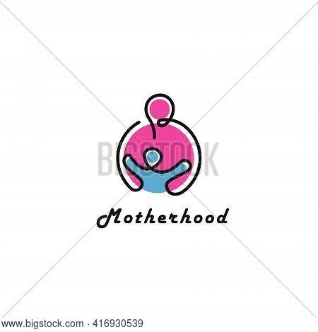 Motherhood, Child Care Logo Design Template Flat Style Vector