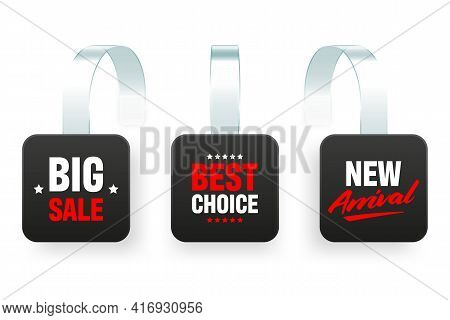 Supermarket Promotional Wobblers Isolated On White Background. Realistic Wobbler Template For Shelf