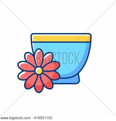 Chrysanthemum Tea Rgb Color Icon. Double Ninth Festival. Flower-based Infusion Beverage. Traditional