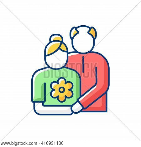 Old Couple Rgb Color Icon. Honor Senior Citizens Day. Double Ninth Festival. Visit Elderly Relatives