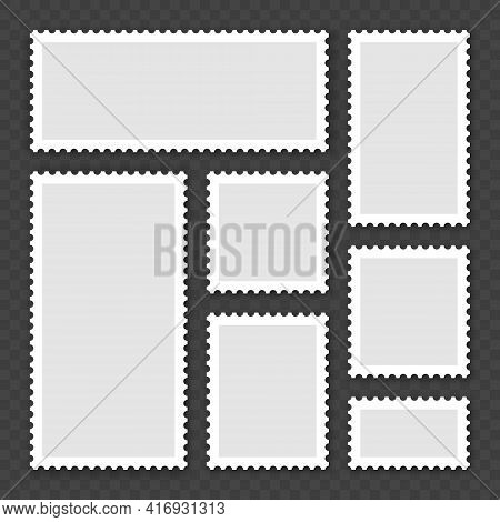Blank Postage Stamps Collection. Sticky Paper Stamp With Shadow. Vector Illustration.