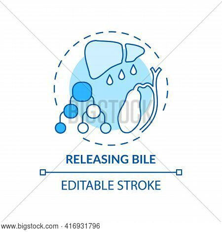 Releasing Bile Concept Icon. Liver Function Idea Thin Line Illustration. Releasing Waste Products. D