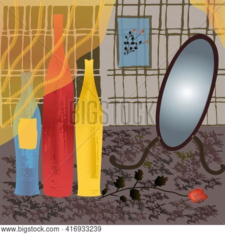 Three Multicolored Bottles With Texture And Mirror Against The Background Of Wall In The Cell.  Illu