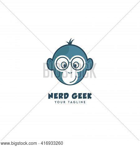 Nerd Geek Monkey Logo Symbol Design Template Flat Style Vector