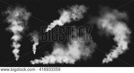 Realistic Smoke Clouds. Stream Of Smoke From Burning Objects. Transparent Fog Effect. White Steam, M