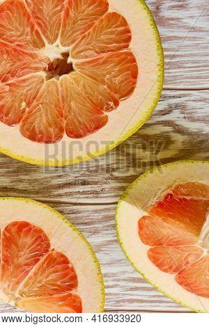 Half Of Pomelo Citrus Fruit Close Up, Texture, Macro