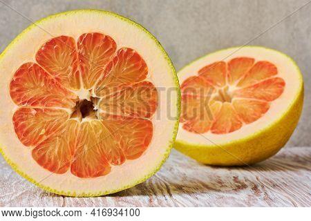 Red Ripe Pomelo Citrus Fruit Close Up, Macro