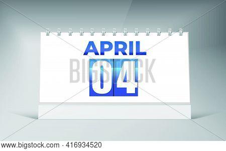 April 04, Desk Calendar Design Template. Single Date Calendar Design.