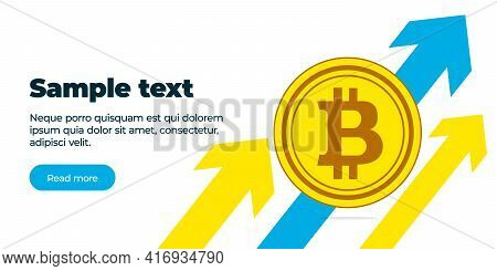 The Banner Is A Gold Coin Crypto Currency Bitcoin Against The Background Of Three Multicolored Arrow