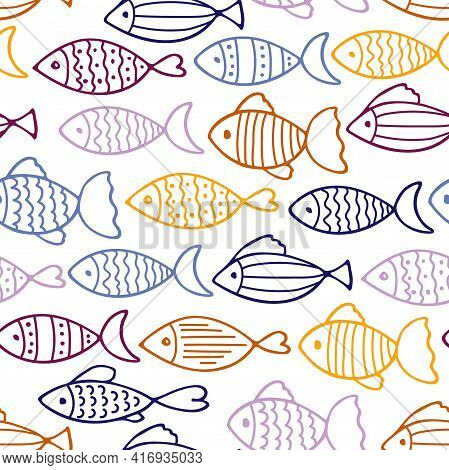 Fish, Drawing, Print, Shape, Animal, Cute, Element, Concept, Icon, Black, Background, Vector, Wild,