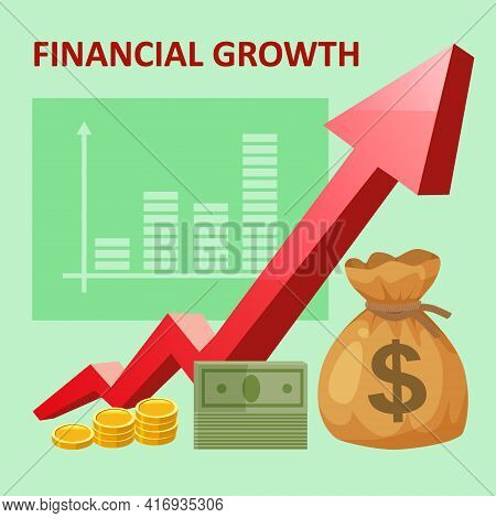 Financial Revenue Increase, Income Growth Money Rate Rising Up. Arrow Up, Money Gold Bag Coins Fund,