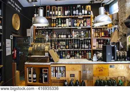 Spain, Barcelona, March, 2021: Shelves With Various Of Wines From Various Vineyards In A Liquor Stor
