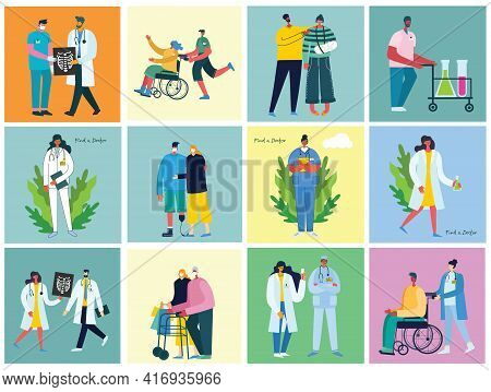 Vector Background With Disabled People, Young Handycap Persons And Friends Near Helping. World Disab