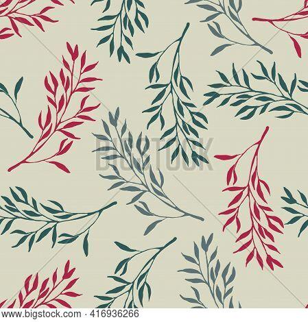 Foliages Seamless Pattern. Doodle Sketch Illustration. Floral Herb Design Elements. Botanical Forest