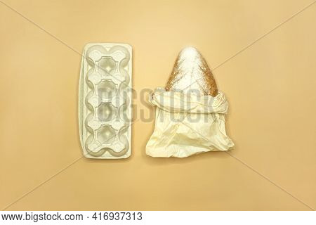 The Concept Of Shopping Without Waste - Bread In Paper Packaging And Eggs In Carton Packages, Top Vi