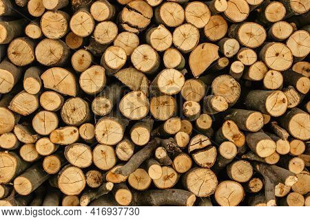 Wood Texture Detail. Stack Of Firewood. Pile Of Wood Logs Stored For Winter. Wall Of Woods. Wooden N
