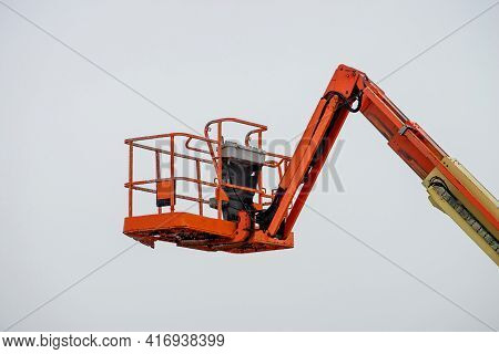 Hydraulic System Elevated Platform With Industry Work At High In A Boom Lift Crane