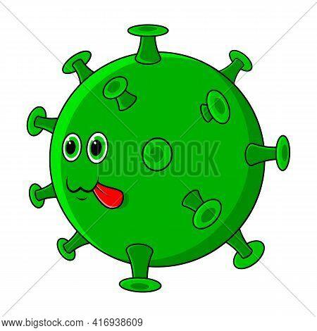 Covid 19 Virus. Cute Beautiful Cartoon Coronavirus Icon With Green Face.