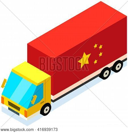 Transport With Symbol Of China. Delivery Of Parcels From China By Vehicle Vector Illustration