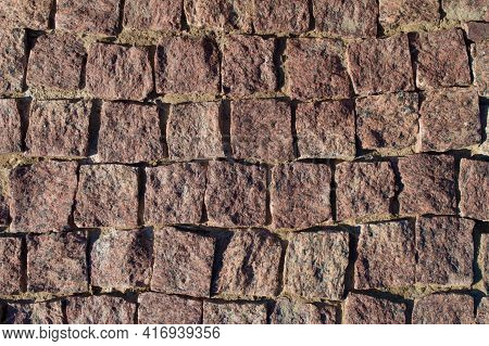 Pavement Rocks, Stones And Cobblestone Blocks, Construction Of Path, Road Or Sidewalk. Abstract Back