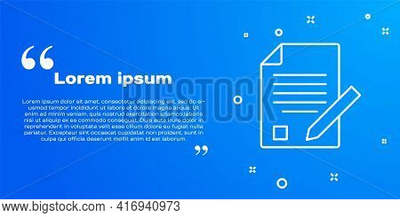 White Line Exam Sheet And Pencil With Eraser Icon Isolated On Blue Background. Test Paper, Exam, Or