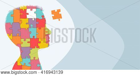 Banner Copy Space. Autism Syndrome Concept. Jigsaw Puzzle That Forms The Head Of A Child S Profile.