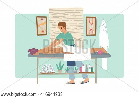 Masseur Man Doing Massage To The Girl, Massage Table And Cabinet In The Spa Beauty Salon. Vector Ill
